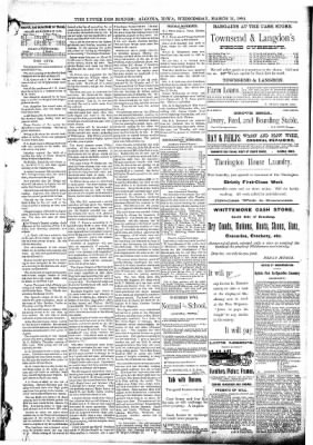 The Algona Upper Des Moines from Algona, Iowa on March 11, 1891 · Page 5