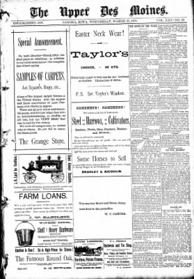 The Algona Upper Des Moines from Algona, Iowa on March 25, 1891 · Page 1