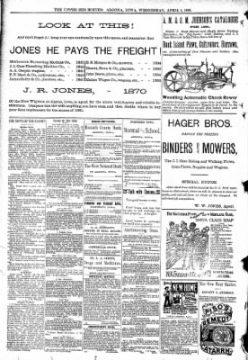 The Algona Upper Des Moines from Algona, Iowa on April 1, 1891 · Page 8