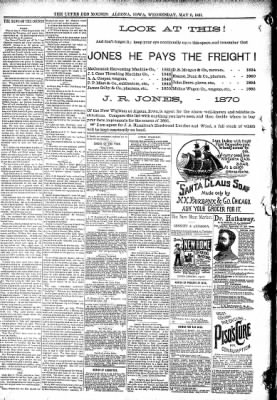 The Algona Upper Des Moines from Algona, Iowa on May 6, 1891 · Page 8