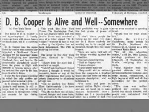 Person claiming to be D.B. Cooper sends letters to newspapers