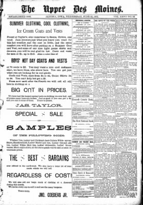 The Algona Upper Des Moines from Algona, Iowa on June 17, 1891 · Page 1