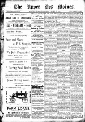 The Algona Upper Des Moines from Algona, Iowa on July 15, 1891 · Page 1