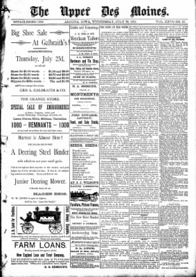 The Algona Upper Des Moines from Algona, Iowa on July 22, 1891 · Page 1