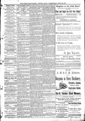 The Algona Upper Des Moines from Algona, Iowa on July 22, 1891 · Page 5