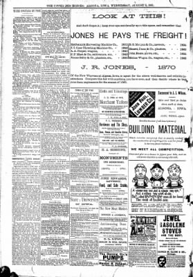 The Algona Upper Des Moines from Algona, Iowa on August 5, 1891 · Page 8
