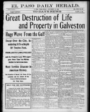 Front page newspaper coverage of the 1900 Galveston hurricane