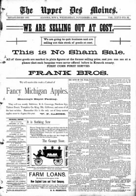 The Algona Upper Des Moines from Algona, Iowa on November 4, 1891 · Page 1