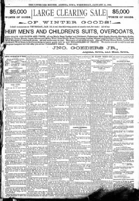 The Algona Upper Des Moines from Algona, Iowa on January 11, 1893 · Page 5