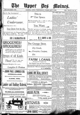 The Algona Upper Des Moines from Algona, Iowa on February 8, 1893 · Page 1