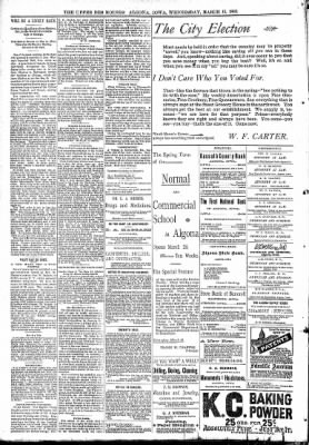 The Algona Upper Des Moines from Algona, Iowa on March 15, 1893 · Page 8