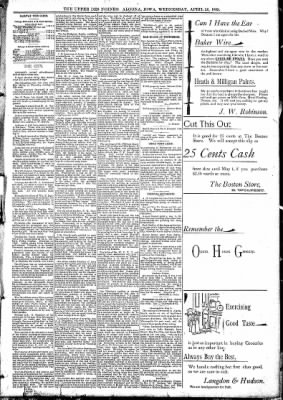 The Algona Upper Des Moines from Algona, Iowa on April 26, 1893 · Page 5