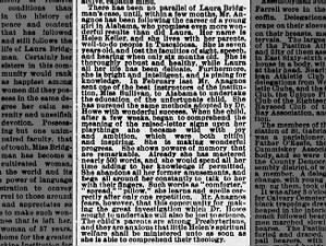 7-year-old Helen Keller is discussed in a New York newspaper, 4 months after meeting Anne Sullivan
