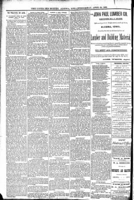 The Algona Upper Des Moines from Algona, Iowa on April 20, 1892 · Page 6