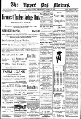 The Algona Upper Des Moines from Algona, Iowa on April 27, 1892 · Page 1