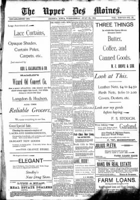 The Algona Upper Des Moines from Algona, Iowa on July 26, 1893 · Page 1