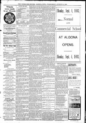 The Algona Upper Des Moines from Algona, Iowa on August 30, 1893 · Page 5