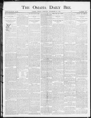 Omaha Daily Bee from Omaha, Nebraska on November 27, 1891 · Page 1