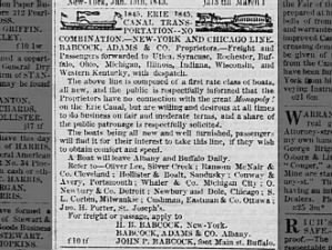 Ad for freight and passenger ships on the Erie Canal, 1845