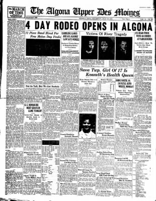 The Algona Upper Des Moines from Algona, Iowa on July 29, 1937 · Page 1