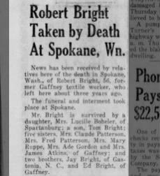 Robert Bright dies