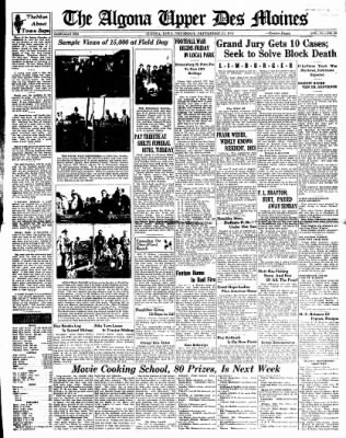 The Algona Upper Des Moines from Algona, Iowa on September 23, 1937 · Page 1
