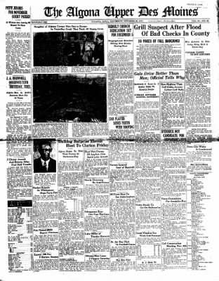 The Algona Upper Des Moines from Algona, Iowa on October 28, 1937 · Page 1