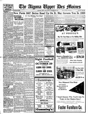 The Algona Upper Des Moines from Algona, Iowa on October 28, 1937 · Page 9