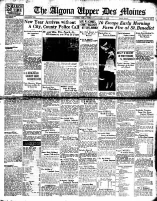 The Algona Upper Des Moines from Algona, Iowa on January 4, 1938 · Page 1