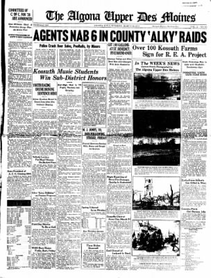 The Algona Upper Des Moines from Algona, Iowa on March 22, 1938 · Page 1