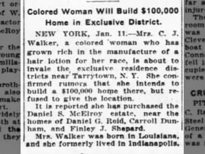 Madam C.J. Walker purchases home in exclusive New York neighborhood, 1917