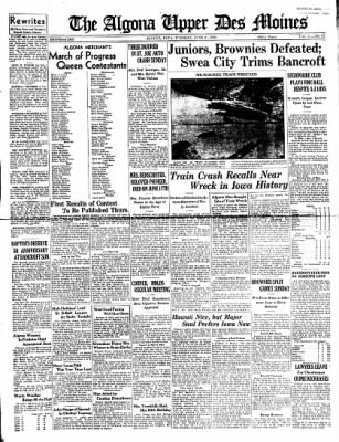 The Algona Upper Des Moines from Algona, Iowa on June 21, 1938 · Page 1