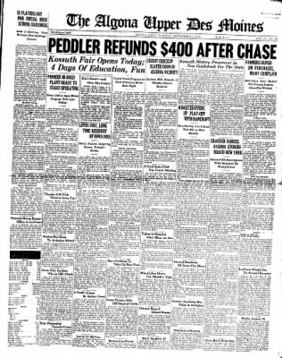 The Algona Upper Des Moines from Algona, Iowa on September 6, 1938 · Page 1