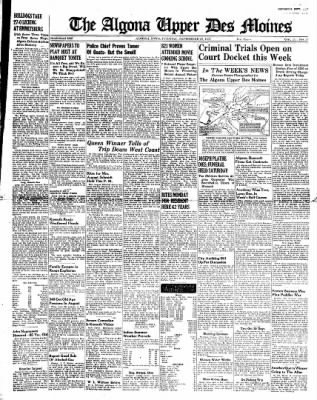 The Algona Upper Des Moines from Algona, Iowa on September 27, 1938 · Page 1