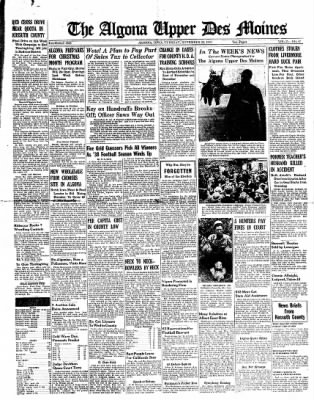 The Algona Upper Des Moines from Algona, Iowa on November 22, 1938 · Page 1