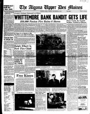 The Algona Upper Des Moines from Algona, Iowa on December 20, 1938 · Page 1