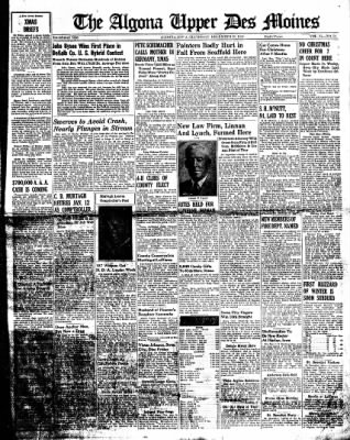 The Algona Upper Des Moines from Algona, Iowa on December 29, 1938 · Page 1