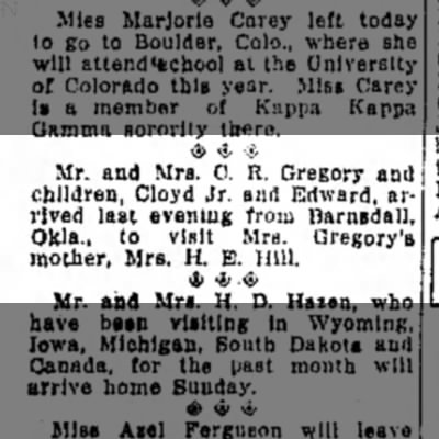 Sept 17, 1927, C R Gregory visit to Hutchinson, The Hutchinson News -