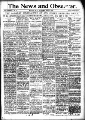 News and Observer from Raleigh, North Carolina on June 18, 1895 · Page 1