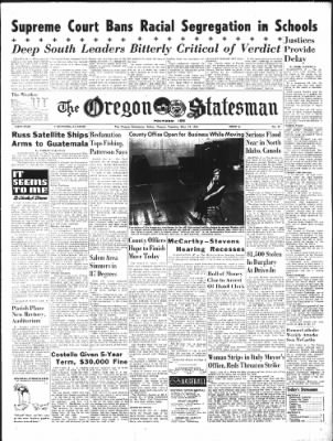 Statesman Journal From Salem Oregon On May 18 1954 Page 1