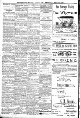 The Algona Upper Des Moines from Algona, Iowa on March 23, 1898 · Page 10
