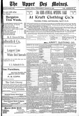 The Algona Upper Des Moines from Algona, Iowa on March 30, 1898 · Page 1