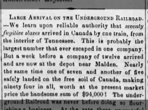 70 enslaved individuals escape to Canada from Tennessee through the Underground Railroad, 1859