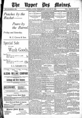 The Algona Upper Des Moines from Algona, Iowa on August 17, 1898 · Page 1