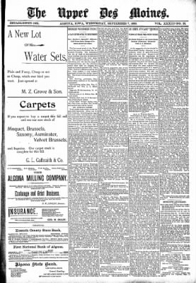 The Algona Upper Des Moines from Algona, Iowa on September 7, 1898 · Page 1