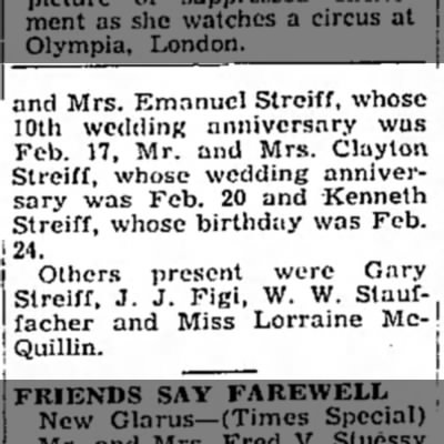 Part 2 - • and Mrs. Emanuel Strciff, whose 10th wedding...