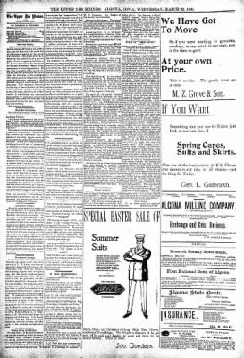 The Algona Upper Des Moines from Algona, Iowa on March 22, 1899 · Page 4