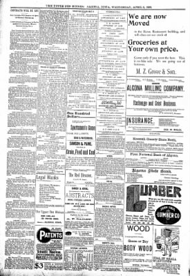 The Algona Upper Des Moines from Algona, Iowa on April 5, 1899 · Page 8