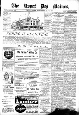 The Algona Upper Des Moines from Algona, Iowa on May 24, 1899 · Page 1
