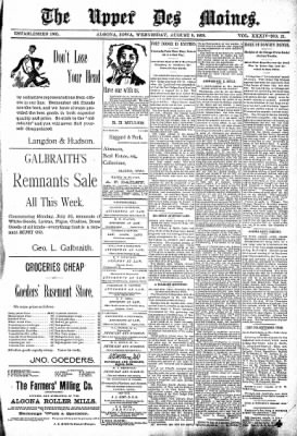 The Algona Upper Des Moines from Algona, Iowa on August 9, 1899 · Page 1
